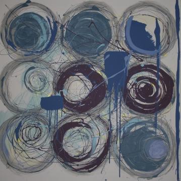 blue gray circles grid